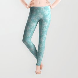 blue winter background with white snowflakes Leggings