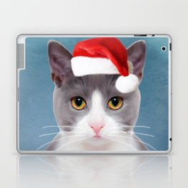 Cat Art Portrait With Santa Hat Laptop & iPad Skin