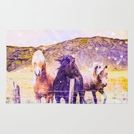 Southwest Horse Ranch Horses Rug