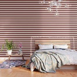 Burnt umber - solid color - white stripes pattern Wallpaper