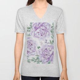 Pretty Purple Flower Garden Unisex V-Neck