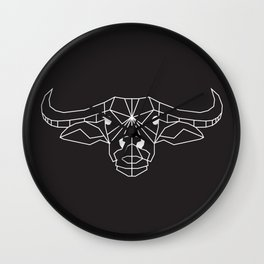 raya goods : raya the water buffalo (kalabaw) white on black Wall Clock