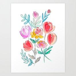 June Watercolor Flowers Art Print