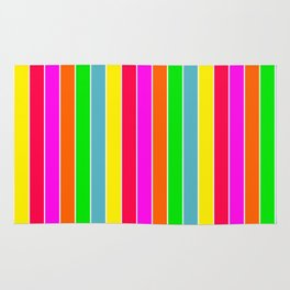 Neon Hawaiian Rainbow Deck Chair Stripes Rug