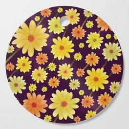 Yellow dots, Yellow Flower, Floral Pattern, Yellow Blossom Cutting Board