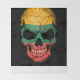 Dark Skull with Flag of Lithuania Throw Blanket