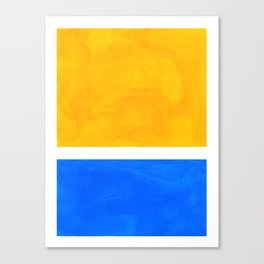 Primary Yellow Cerulean Blue Mid Century Modern Abstract Minimalist Rothko Color Field Squares Canvas Print