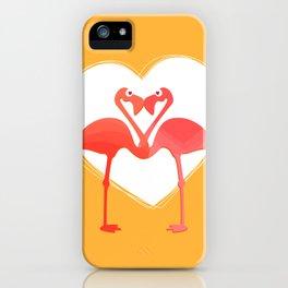 lovebirds - flamingos in love iPhone Case