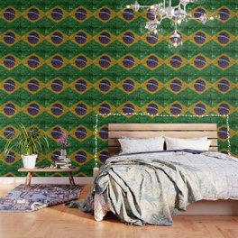 Brazil flag on a brick wall Wallpaper