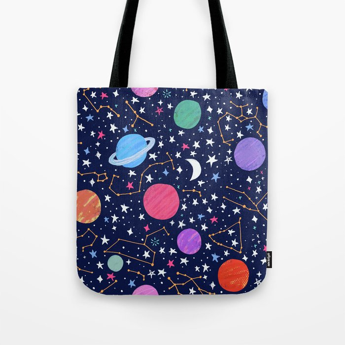 Astrology Zodiac Constellation in Midnight Blue Tote Bag