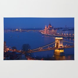 Panorama of Budapest, Hungary, with the Chain Bridge and the Parliament. Rug