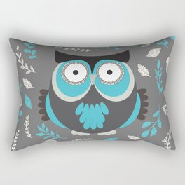 BLUE OWL AND LEAVES Rectangular Pillow