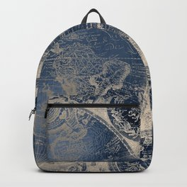 Antique World Map Gold Navy Blue Library Backpack