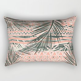 Tropical Aztec |  Coral Abstract Aztec Tropical Palm Leaf Pattern Rectangular Pillow