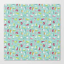 Multicolour Campers on aqua Canvas Print