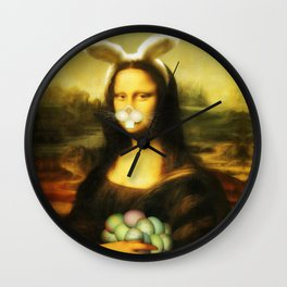 Easter Mona Lisa with Whiskers and Bunny Ears Wall Clock