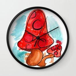 Messy Minimalist Mushroom Wall Clock