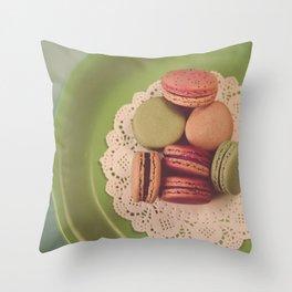 Macarons on Green Throw Pillow