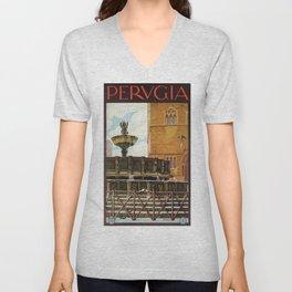 Travel Perugia and Fontana Maggiore Unisex V-Neck