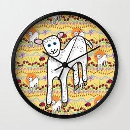 © Little Lamb with ladybugs pattern Wall Clock