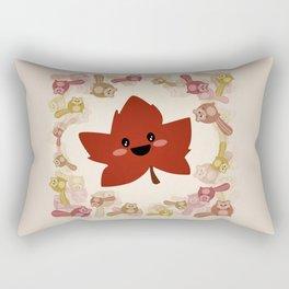 Happy Autumn leaf and the crazy chipmunk hurricane. Rectangular Pillow