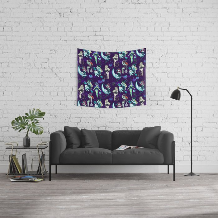 Witches and Black Cats Wall Tapestry