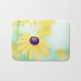 Yellow Turquoise Teal Aqua Blue Daisy Flower Photography, Blackeyed Susan Floral Nature Bath Mat