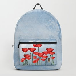Mouse and poppies on a cloudy day Backpack