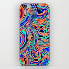 green blue orange and black curly painting iPhone Skin