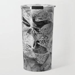 Winter Hydrangea in Black and White Travel Mug
