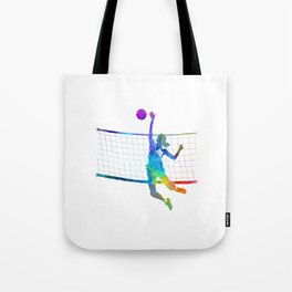 Woman volleyball player in watercolor Tote Bag