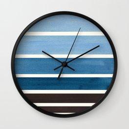 Blue Green Mid Century Modern Minimalist Circle Round Photo Staggered Sunset Geometric Stripe Design Wall Clock