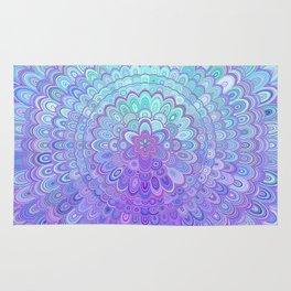 Mandala Flower in Light Blue and Purple Rug