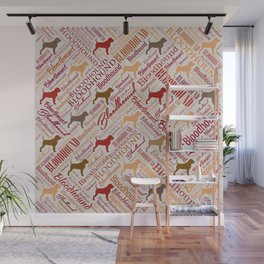 Bloodhound dog Word Art pattern Wall Mural