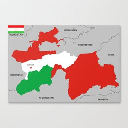 political map of Tajikistan country with flag Canvas Print