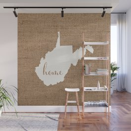 West Virginia is Home - White on Burlap Wall Mural