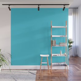Bright Turquoise Simple Solid Color All Over Print Wall Mural