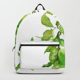 green apple watercolor Backpack