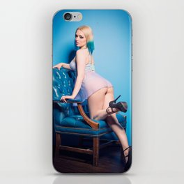 Blu on blue leather chair iPhone Skin