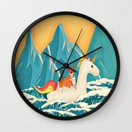 Corgi and the rainbow unicorn Wall Clock