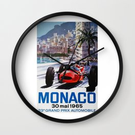 Grand Prix Monaco, 1965, vintage poster, race poster Wall Clock