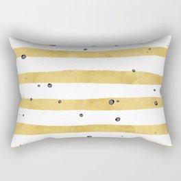 Modern hand painted yellow gold black watercolor splatters stripes Rectangular Pillow