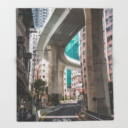 Hong Kong Street Bridge Throw Blanket