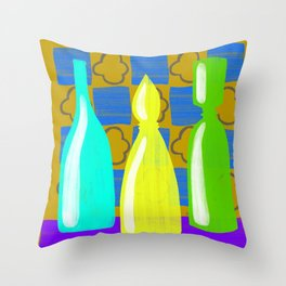 Moroccan Bottles with mustard wall Throw Pillow