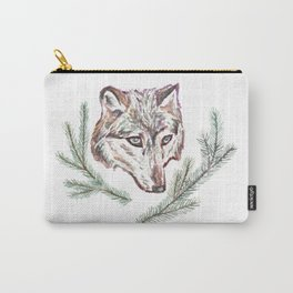 Wolf and Pine Branches Carry-All Pouch