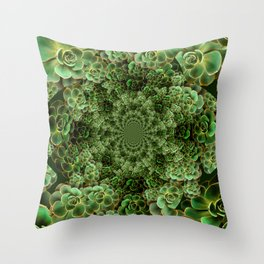 SEA FOAM FROTHY BLUE-GREEN SUCCULENTS Throw Pillow