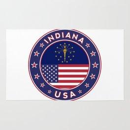 Indiana, Indiana t-shirt, Indiana sticker, circle, Indiana flag, white bg Rug