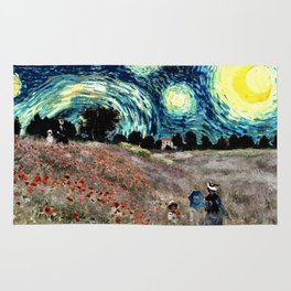 Monet's Poppies with Van Gogh's Starry Night Sky Rug