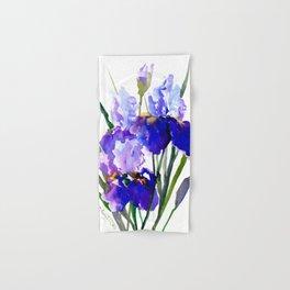Garden Irises, Blue Purple Floral Design Hand & Bath Towel