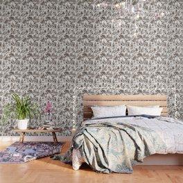 Alice in Wonderland | Toile de Jouy | Brown and White Wallpaper